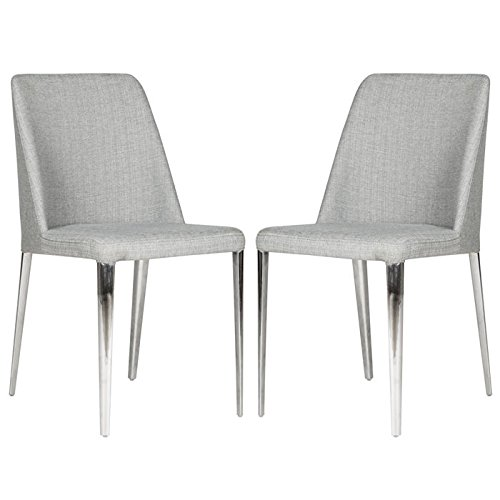 Safavieh Baltic Side Chair - Dimensions 34.8H x 22.5W x 17.8D 24.2 lbs. per chair Stainless steel, linen, 18.5-inch seat height. Material: Linen/Stainless Steel/Faux Leather.