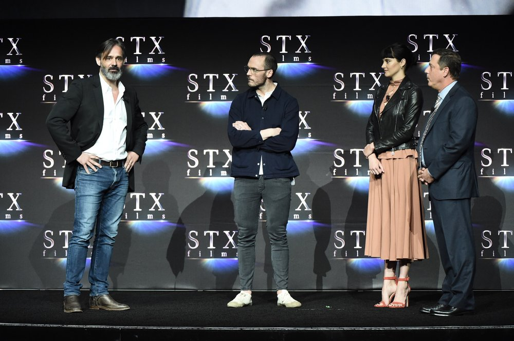 Director Baltasar Kormákur, Sam Claflin, Shailene Woodley and Adam Fogelson speak during STXfilms' 2018 CinemaCon Presentation at The Colosseum of Caesars Palace, Las Vegas, NV Tuesday, April 24, 2018.