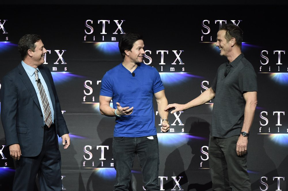 Adam Fogelson, Mark Wahlberg and Director Peter Berg speak during STXfilms' 2018 CinemaCon Presentation at The Colosseum of Caesars Palace, Las Vegas, NV Tuesday, April 24, 2018.