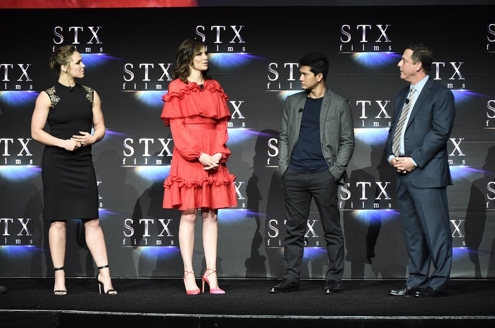 Ronda Rousey, Lauren Cohan, Iko Uwais and Adam Fogelson speak during STXfilms' 2018 CinemaCon Presentation at The Colosseum of Caesars Palace, Las Vegas, NV Tuesday, April 24, 2018.