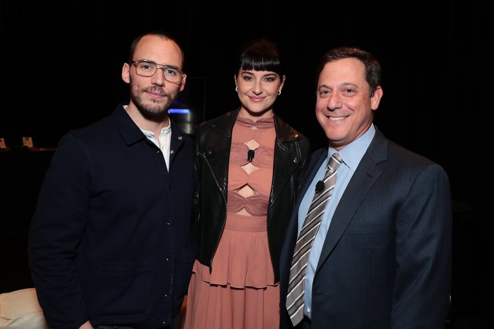 Sam Claflin, Shailene Woodley and Adam Fogelson, Chariman, STXfilms attend STXfilms' 2018 CinemaCon Presentation at The Colosseum of Caesars Palace, Las Vegas, NV Tuesday, April 24, 2018.