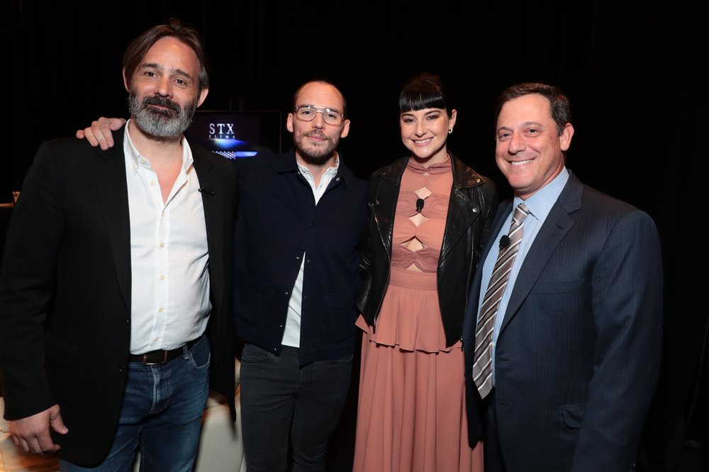 Director Baltasar Kormákur, Sam Claflin, Shailene Woodley and Adam Fogelson, Chariman, STXfilms attend STXfilms' 2018 CinemaCon Presentation at The Colosseum of Caesars Palace, Las Vegas, NV Tuesday, April 24, 2018.