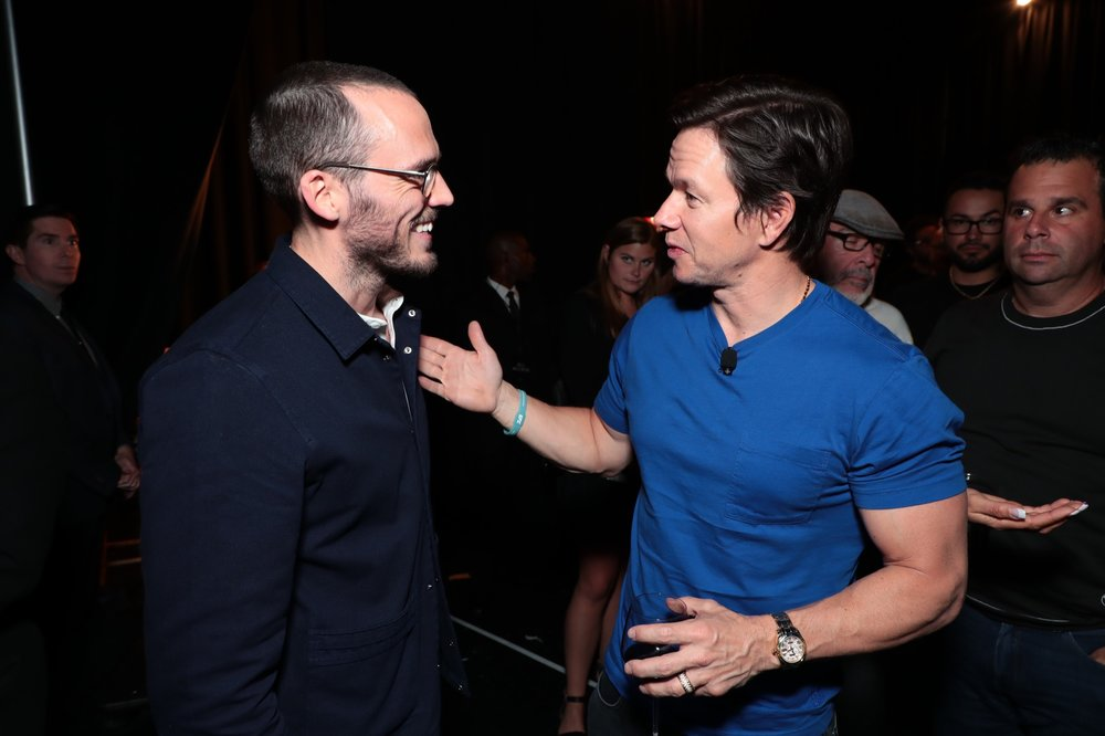 Sam Claflin and Mark Wahlberg attend STXfilms' 2018 CinemaCon Presentation at The Colosseum of Caesars Palace, Las Vegas, NV Tuesday, April 24, 2018.