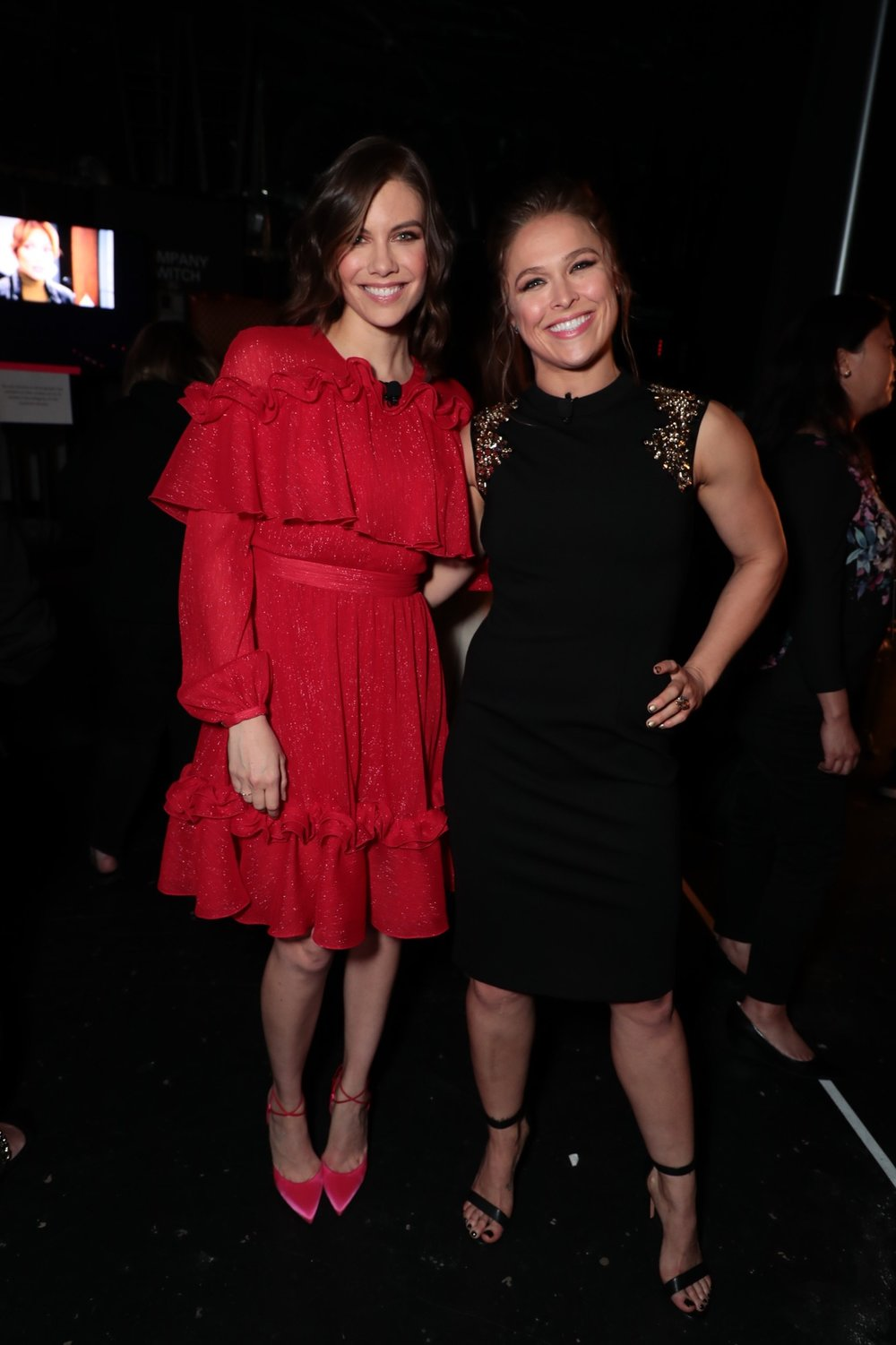 Lauren Cohan and Ronda Rousey attend STXfilms' 2018 CinemaCon Presentation at The Colosseum of Caesars Palace, Las Vegas, NV Tuesday, April 24, 2018.