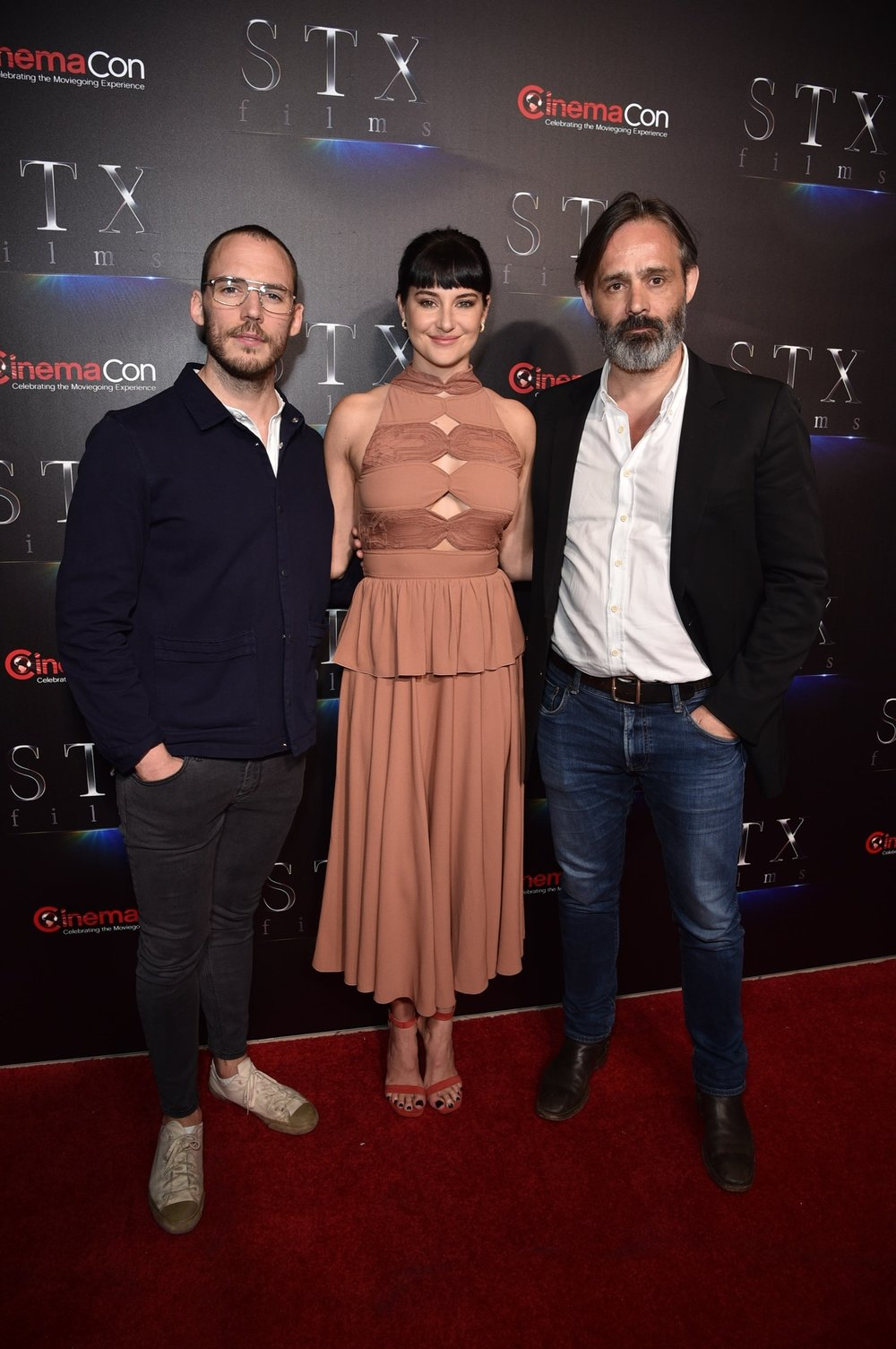 Sam Claflin, Shailene Woodley and Director Baltasar Kormákur attend STXfilms' 2018 CinemaCon Presentation at The Colosseum of Caesars Palace, Las Vegas, NV Tuesday, April 24, 2018.