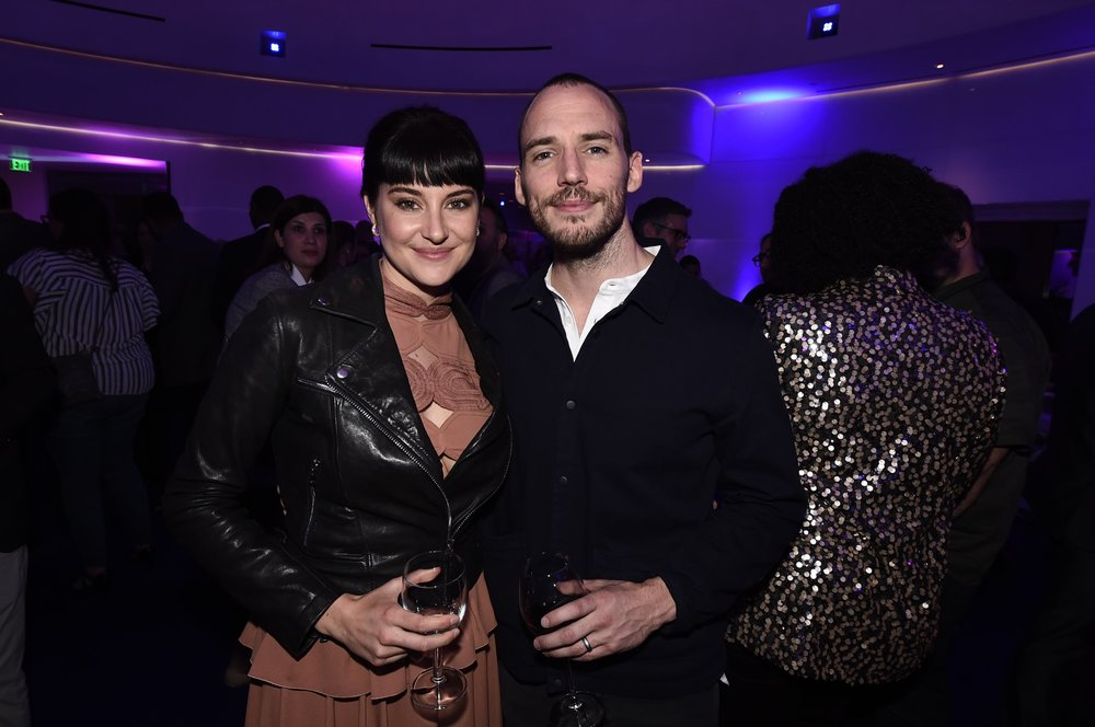 Shailene Woodley and Sam Claflin attend the afterparty for STXfilms' 2018 CinemaCon Presentation at The Colosseum of Caesars Palace, Las Vegas, NV Tuesday, April 24, 2018.
