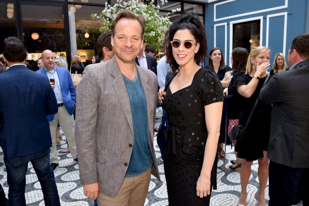 NEW YORK, NY - MAY 02:  Peter Saarsgard (L) and Sarah Silverman attend the Hulu Upfront 2018 Brunch at La Sirena on May 2, 2018 in New York City.  (Photo by Bryan Bedder/Getty Images for Hulu) *** Local Caption *** Peter Saarsgard;Sarah Silverman