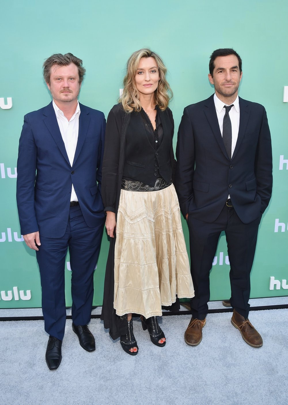 NEW YORK, NY - MAY 02:  (L-R) Beau Willimon, Natasha McElhone and Jordan Tappis attend the Hulu Upfront 2018 Brunch at La Sirena on May 2, 2018 in New York City.  (Photo by Bryan Bedder/Getty Images for Hulu) *** Local Caption *** Beau Willimon;Natasha McElhone;Jordan Tappis