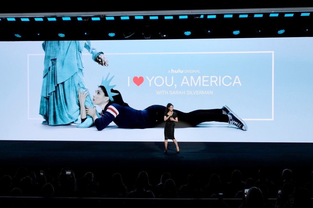 NEW YORK, NY - MAY 02:  Sarah Silverman speaks onstage during Hulu Upfront 2018 at The Hulu Theater at Madison Square Garden on May 2, 2018 in New York City.  (Photo by Dia Dipasupil/Getty Images for Hulu) *** Local Caption *** Sarah Silverman