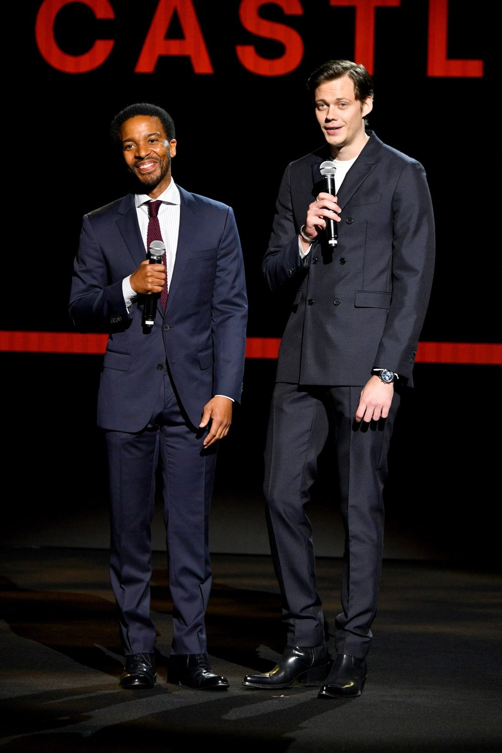 NEW YORK, NY - MAY 02:  Actors Jerrod Carmichael and Bill Skarsgard speak onstage during Hulu Upfront 2018 at The Hulu Theater at Madison Square Garden on May 2, 2018 in New York City.  (Photo by Dia Dipasupil/Getty Images for Hulu) *** Local Caption *** Jerrod Carmichael;Bill Skarsgard