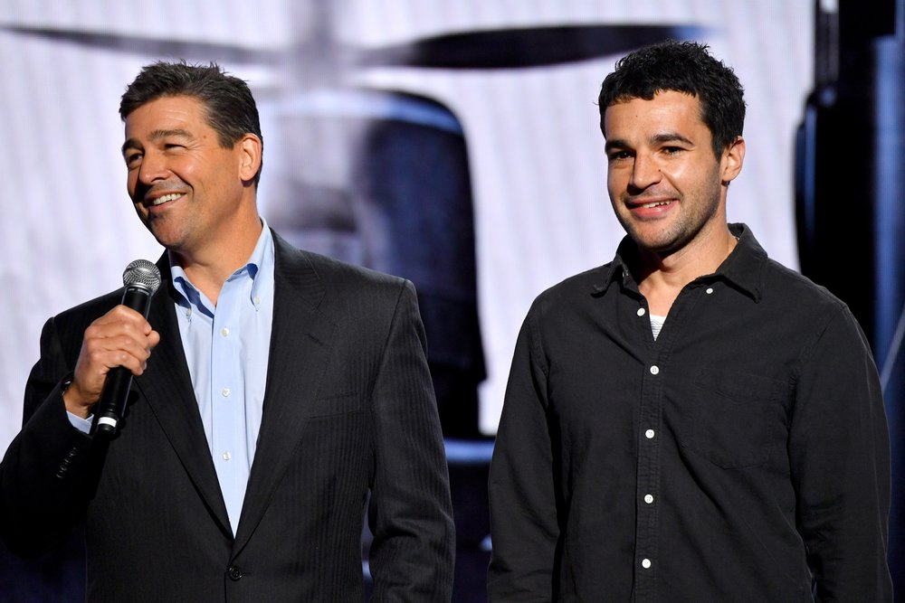 NEW YORK, NY - MAY 02:  Actors Kyle Chandler and Christopher Abbott speak onstage during Hulu Upfront 2018 at The Hulu Theater at Madison Square Garden on May 2, 2018 in New York City.  (Photo by Dia Dipasupil/Getty Images for Hulu) *** Local Caption *** Kyle Chandler;Christopher Abbott