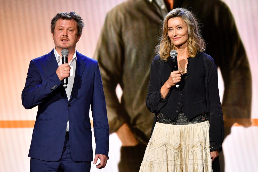 NEW YORK, NY - MAY 02:  Writer Beau Willimon and actor Natasha McElhone speak onstage during Hulu Upfront 2018 at The Hulu Theater at Madison Square Garden on May 2, 2018 in New York City.  (Photo by Dia Dipasupil/Getty Images for Hulu) *** Local Caption *** Beau Willimon;Natasha McElhone