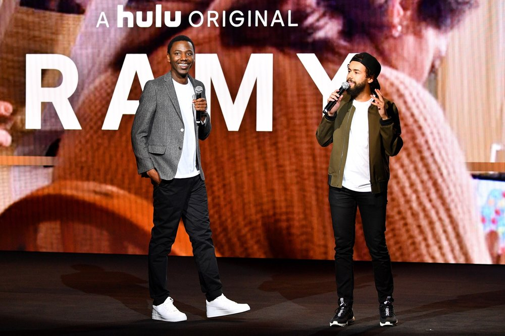 NEW YORK, NY - MAY 02:  Jerrod Carmichael and Ramy Youssef speak onstage during Hulu Upfront 2018 at The Hulu Theater at Madison Square Garden on May 2, 2018 in New York City.  (Photo by Dia Dipasupil/Getty Images for Hulu) *** Local Caption *** Jerrod Carmichael, Ramy Youssef