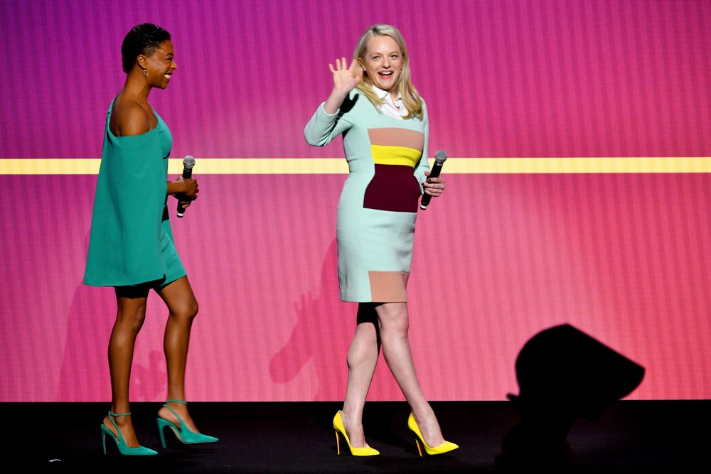 NEW YORK, NY - MAY 02:  Actors Samira Wiley and Elisabeth Moss speak onstage during Hulu Upfront 2018 at The Hulu Theater at Madison Square Garden on May 2, 2018 in New York City.  (Photo by Dia Dipasupil/Getty Images for Hulu) *** Local Caption *** Samira Wiley;Elisabeth Moss