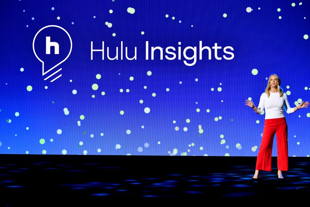 NEW YORK, NY - MAY 02:  Hulu Chief Marketing Officer Kelly Campbell speaks onstage during Hulu Upfront 2018 at The Hulu Theater at Madison Square Garden on May 2, 2018 in New York City.  (Photo by Dia Dipasupil/Getty Images for Hulu) *** Local Caption *** Kelly Campbell