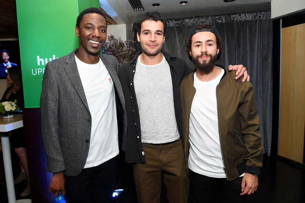 NEW YORK, NY - MAY 02: Jerrod Carmichael, Christopher Abbott and Ramy Youssef pose in the Hulu Upfront 2018 Green Room at The Hulu Theater at Madison Square Garden on May 2, 2018 in New York City.  (Photo by Mike Coppola/Getty Images for Hulu) *** Local Caption *** Jerrod Carmichael, Christopher Abbott, Ramy Youssef