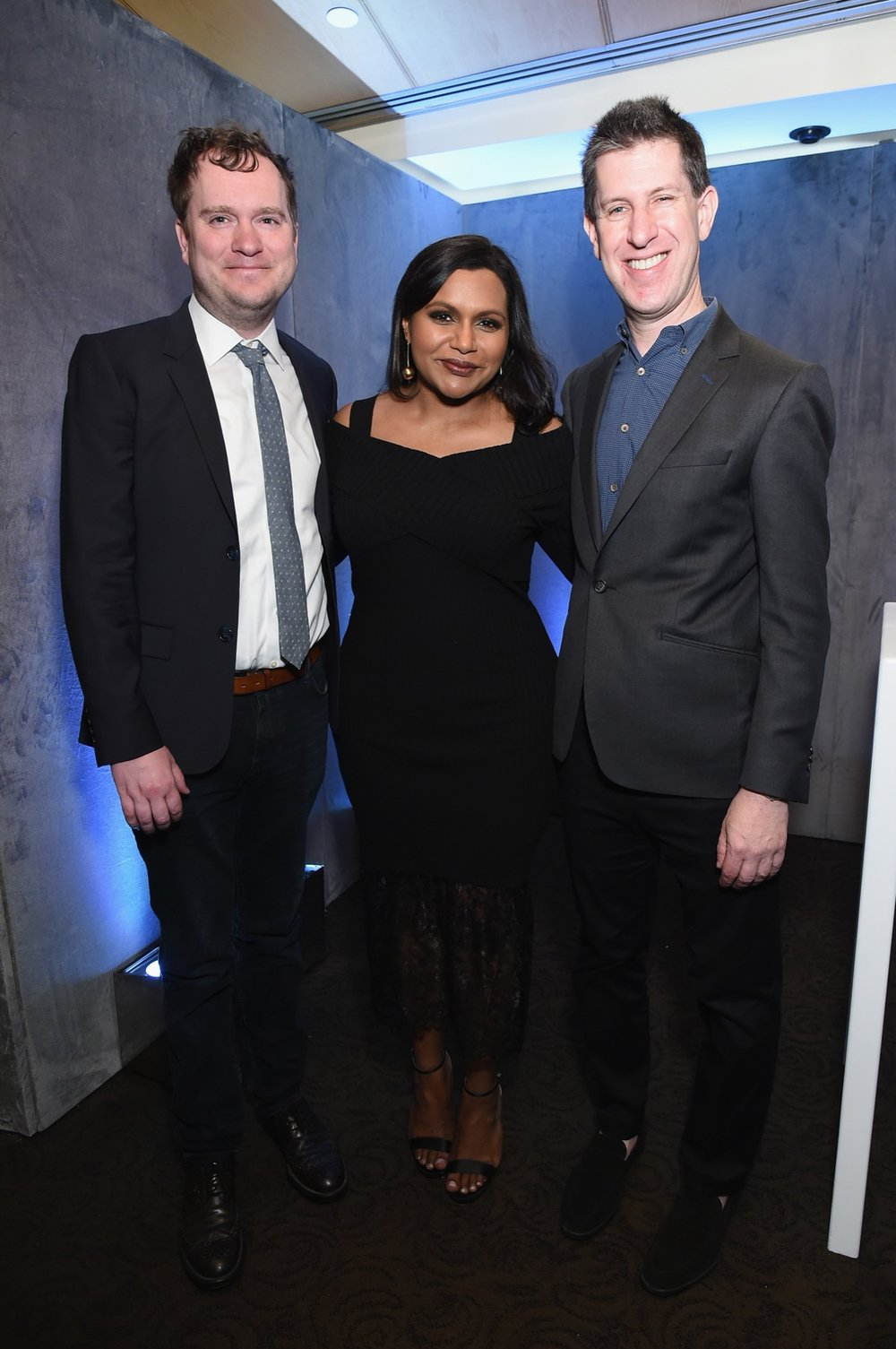 NEW YORK, NY - MAY 02: (L-R) Executive producere Matt Warburton, Mindy Kaling and Hulu Head of Content Craig Erwich pose for a photo in the Hulu Upfront 2018 Green Room at The Hulu Theater at Madison Square Garden on May 2, 2018 in New York City.  (Photo by Mike Coppola/Getty Images for Hulu) *** Local Caption *** Matt Warburton;Mindy Kaling;Craig Erwich