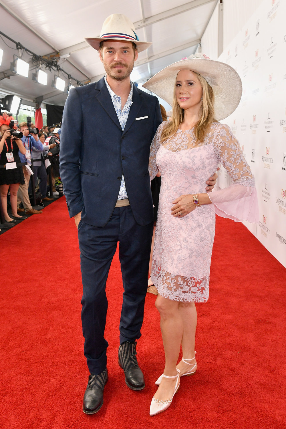 LOUISVILLE, KY - MAY 05:  Actors Christopher Backus and Mira Sorvino attend Kentucky Derby 144 on May 5, 2018 in Louisville, Kentucky.  (Photo by Dia Dipasupil/Getty Images for Chruchill Downs) *** Local Caption *** Christopher Backus;Mira Sorvino
