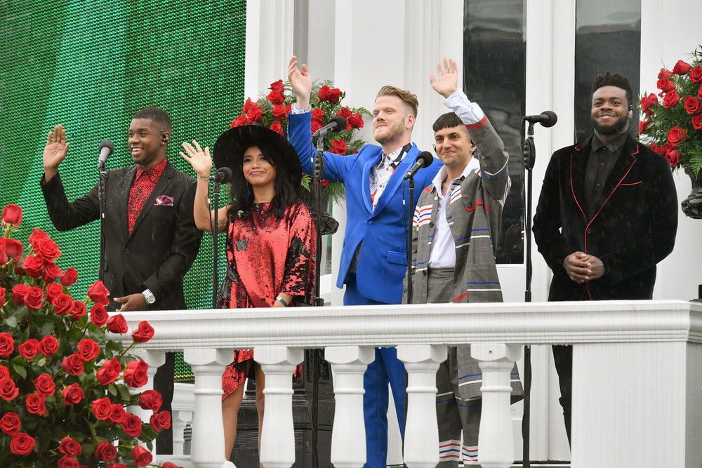 LOUISVILLE, KY - MAY 05:  Matt Sallee, Kirstin Maldonado, Scott Hoying, Mitch Grassi, and Kevin Olusola of Pentatonix perform the National Anthem during Kentucky Derby 144 on May 5, 2018 in Louisville, Kentucky.  (Photo by Dia Dipasupil/Getty Images for Chruchill Downs) *** Local Caption *** Matt Sallee, Kirstin Maldonado, Scott Hoying, Mitch Grassi, Kevin Olusola