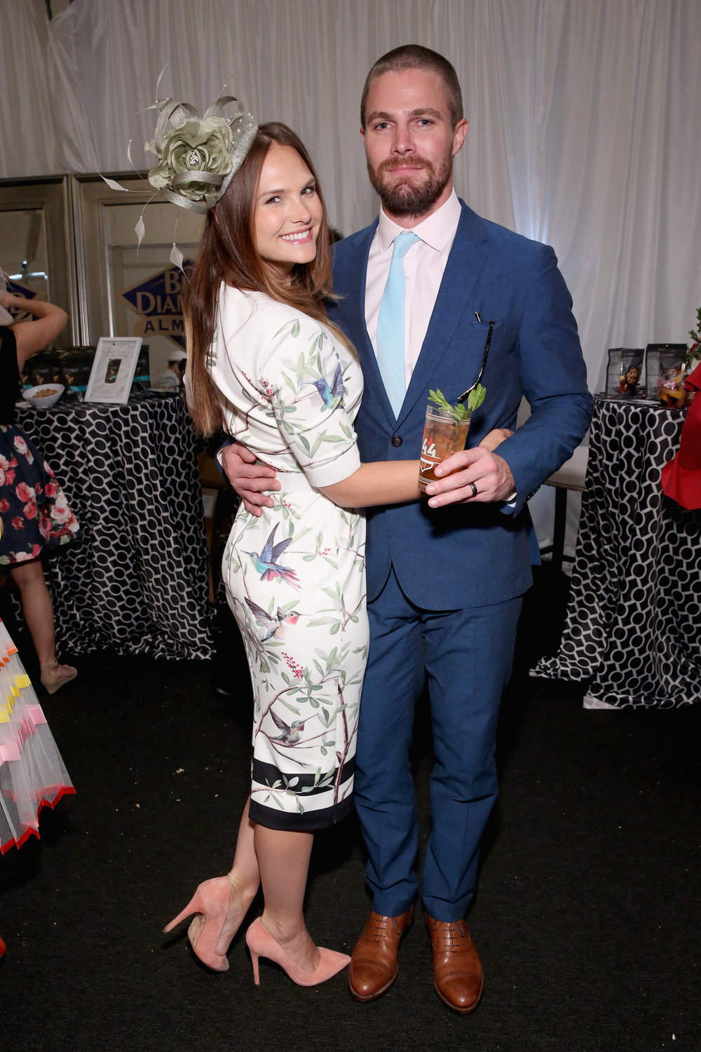 LOUISVILLE, KY - MAY 05:  Actors Cassandra Jean and Stephen Amell attend Kentucky Derby 144 on May 5, 2018 in Louisville, Kentucky.  (Photo by Robin Marchant/Getty Images for Churchill Downs) *** Local Caption *** Stephen Amell;Cassandra Jean