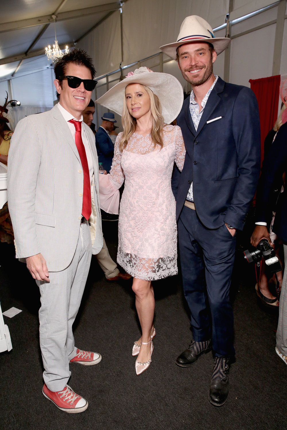 LOUISVILLE, KY - MAY 05:  Johnny Knoxville, Mira Sorvino and Christopher Backus attend Kentucky Derby 144 on May 5, 2018 in Louisville, Kentucky.  (Photo by Robin Marchant/Getty Images for Churchill Downs) *** Local Caption *** Christopher Backus;Mira Sorvino;Johnny Knoxville