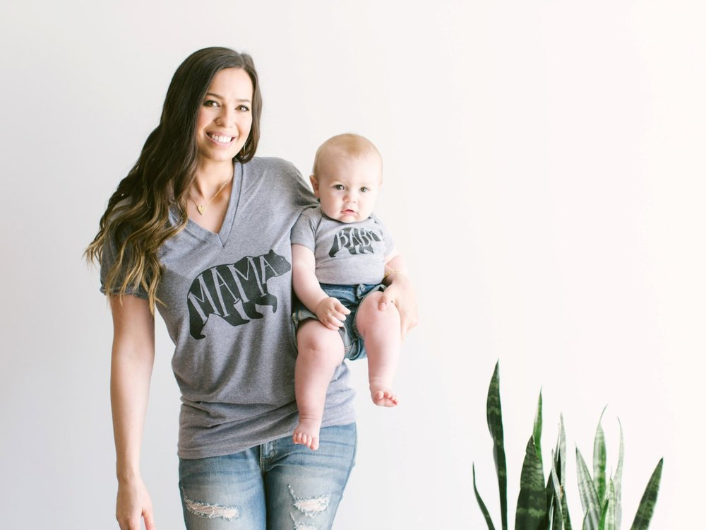Mom and Baby SET of 2 Mama Bear Tee and Baby Bear Bodysuit Matching Set Sold Together -