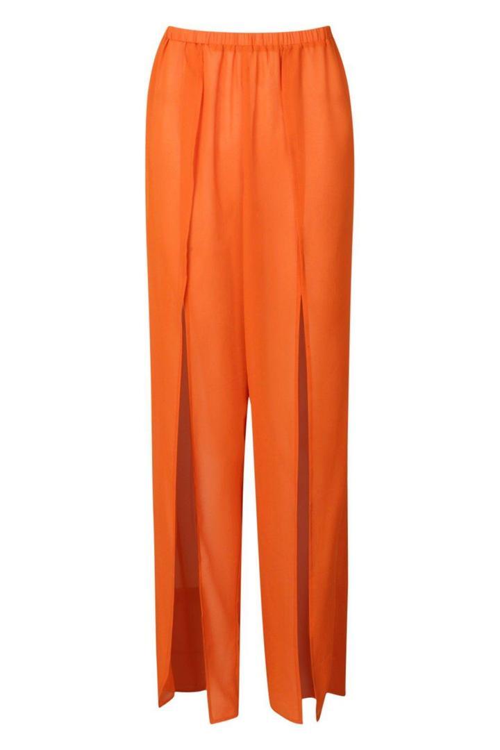 Boohoo Split Leg Trouser in Orange