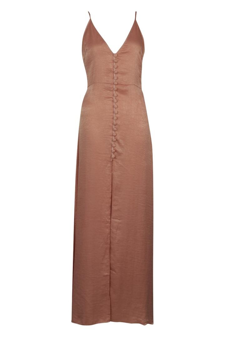 Boohoo Hammered Satin Button Through Maxi Dress blush $63
