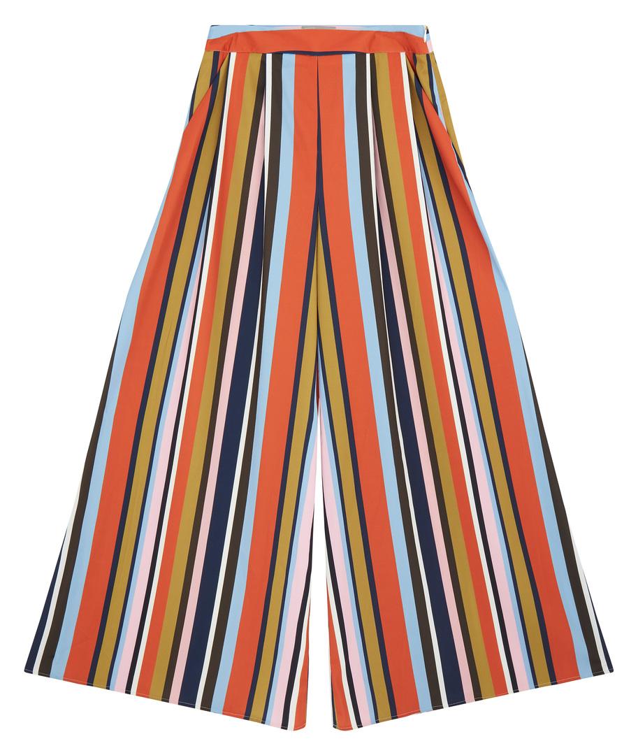 ASOS: Summer Pants Wide Leg Blue Multicolored