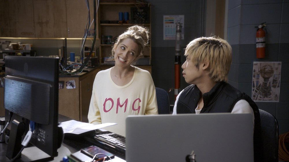 "(from left) Tree (Jessica Rothe) and Ryan (Phi Vu) in ""Happy Death Day 2U,"" written and directed by Christopher Landon."