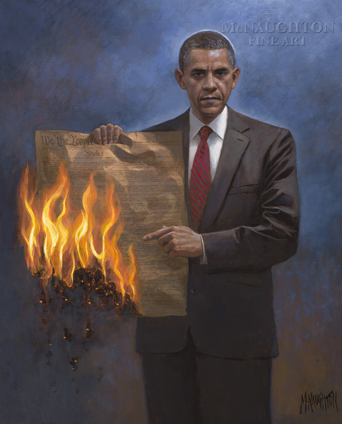 Controversial Painter Depicts Obama With Burning Constitution...