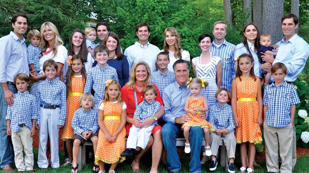 The Romney family Christmas card, with children and grandchildren. (Courtesy, Romney family)