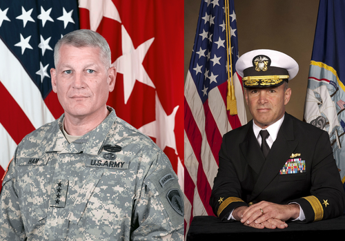 (Left: General Ham, Right: Admiral Gaouette)