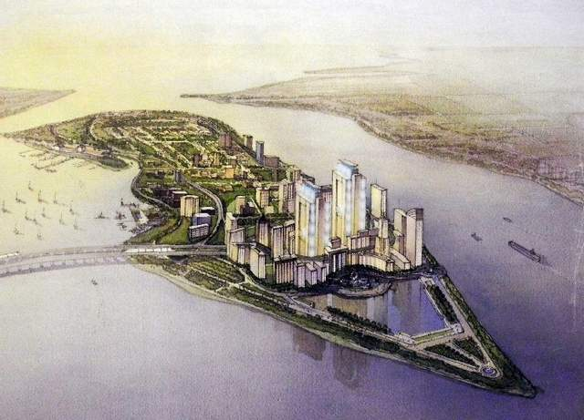 This futuristic rendering of Belle Isle is one where it is a commonwealth separate from the U.S. with a unique governing tax system. (Artist's rendering)