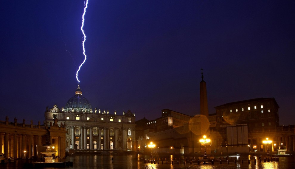 A lightning bolt struck The Vatican on Monday night just hours after Pope Benedict XVI announced he was to renouncing his role as head of the Catholic Church.