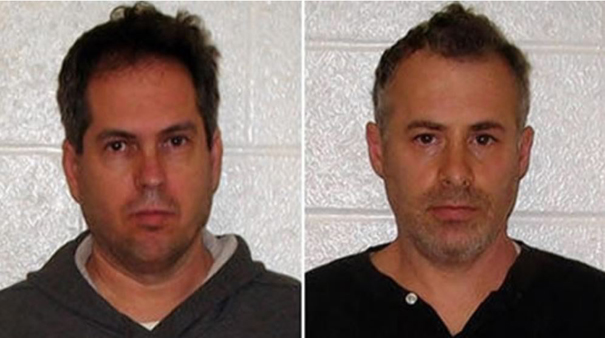 ( Courtesy of Glastonbury Police Department / January 4, 2013 )  George Harasz, left, and Douglas Wirth, after their November 2011 arrests.