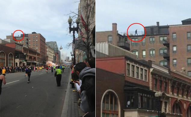 """An image taken as the second bomb exploded near the finish line of the Boston Marathon on Monday has sparked conspiracy theories because it shows a man on top of a building. There is no evidence that the shadowy figure has any involvement in the attack, but Twitter users have been jumping to conclusions and asking """"who is that guy on the roof."""""""