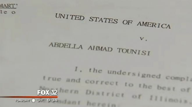 UNDATED: This image shows the federal complaint against 18-year-old Abdella Ahmad Tounisi, who is suspected of trying to join an Al Qaeda-affiliated group in Syria. (MyFoxChicago.com)