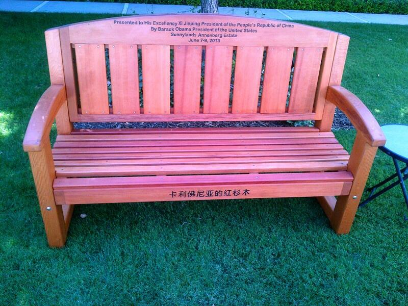 8 Jun  Bench presented as gift to Pres Xi by Pres Obama at Sunnylands estate.(TV Pool photo by @Stacey_Klein, NBC) pic.twitter.com/1sZTehvsFa