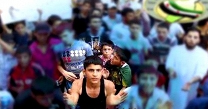 Various media report that the boy highlighted in the center is Mohammed Qataa (YouTube screenshot via Voice of Russia)