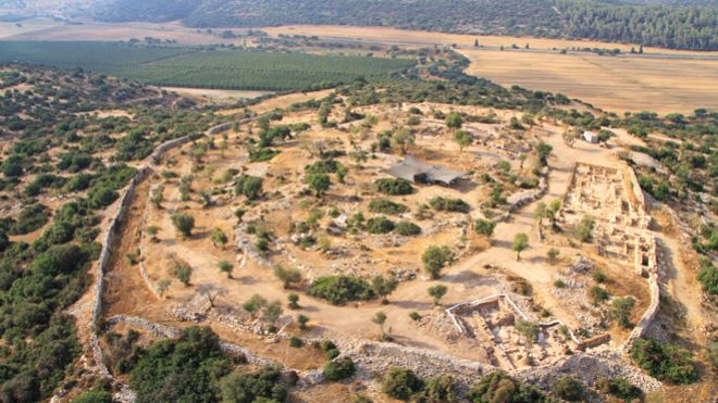An aerial picture of the site archaeologists believe to be one of King David's palaces. (Sky View/Hebrew University/Israel Antiquities Authority)