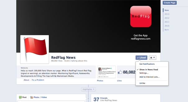 "STEP 1: Go to the official RedFlag News Facebook page. Scroll over the ""Liked"" button in the upper right corner, just below the cover photo."
