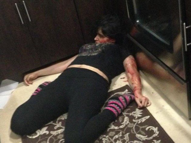 Murder suspect Derek Medina posted this photo of his wife's body on Facebook this morning (via Facebook)