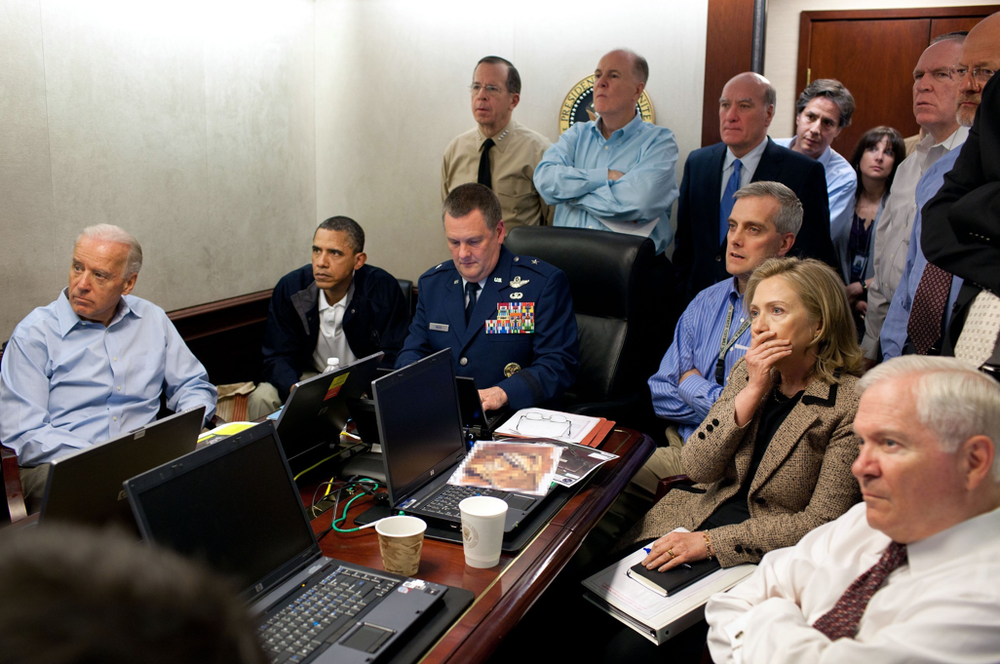 In this handout image provided by the White House, President Barack Obama,  Vice President Joe Biden, Secretary of State Hillary Clinton and members of  the national security team receive an update on the mission against Osama  bin Laden in the Situation Room of the White House, May 1, 2011. (Getty  Images)