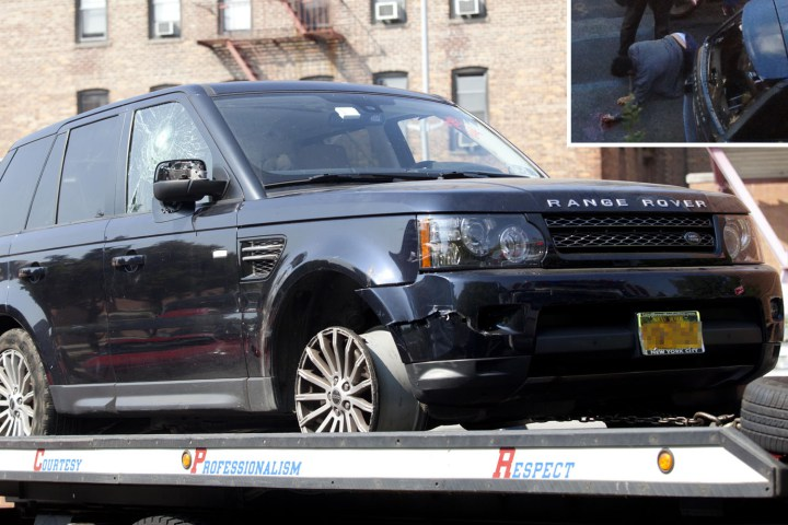 Alexian Lien's Range Rover; Inset: Lien on the ground after the attack.