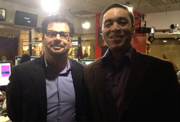 Image: Harry Lennix with Eric 'Mancow' Muller at Muller's Fox News studio in Chicago last week.