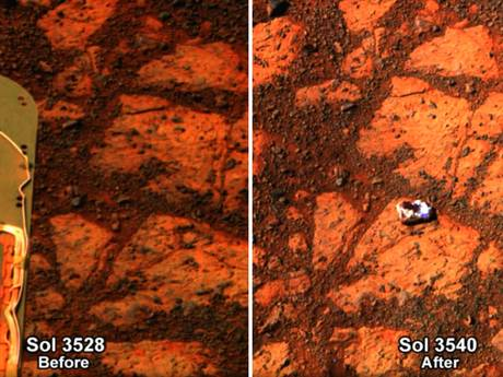 An strange rock, seen here on the left image, mysteriously appeared in front of Opportunity rover in the beginning of the month. The rover, which landed on Mars in 2004, hasn't moved in over a month as it waits for better weather on the red planet