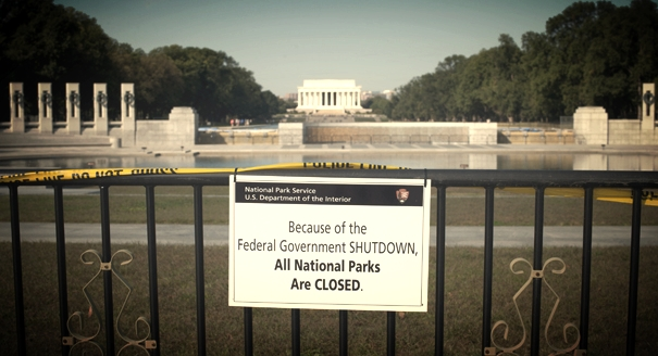 The World War II Memorial is closed due to the government shutdown as seen on October 1, 2013. John Shinkle/POLITICO