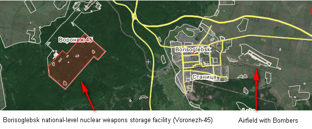 """As shown on the map above, the Borisoglebsk national level nuclear weapons storage facility is located at latitude 51°21'47""""N  Longitude 41°55'38""""E near the cities of  Peski  ,  Uryupinsk  ,  Balashov, about 590 miles east of Kiev, Ukraine. ( Map Here )"""