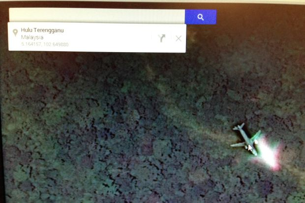 Misleading images of a plane on Google Maps